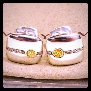David Yurman White Diamonds 18k Sterling Cufflinks